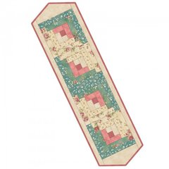 Welcome Home Rose and Teal Log Cabin Table Runner Pre-Cut Quilt Kit by Maywood Studio, includes backing