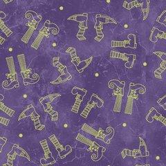 Halloweenie Purple Witches Feet Print designed by Robin Kingsley of Birdbrain Designs for Maywood Studio, 100% Premium Cotton by the Yard