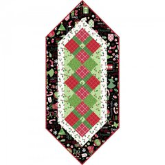 "Jingle All the Way Black Version, 17"" x 38"" Table Runner Kit Designed by Debbie Beaves for Maywood Studio"