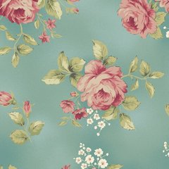 Welcome Home Collection Teal with Roses by Maywood Studio, 100% Premium Cotton by the Yard
