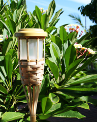 2-Pack Solar Bamboo Tiki Led Torch Path Lights W/ 5 LEDs & 2 Batteries
