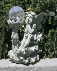 Solar Powered Fairy Crackle Glass Ball with Solar LED Light - GREAT GIFT!!!