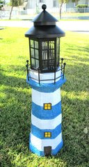 Solar Powered Fiberglass Lighthouse With Solar Amber LED Light - GREAT GIFT!