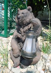 Bear Holding Solar Lantern - GREAT GREEN GIFT!!!