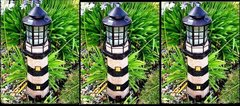 Solar Powered Dark Green/Ivory Fiberglass Lighthouse With Solar Amber LED Light - GREAT GIFT!
