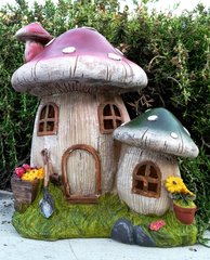 Solar Powered  Mushroom Houses Statue with Soft White LED Light - GREAT GIFT!!!