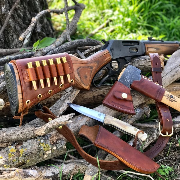 Leather Buttstock Rifle Cartridge Carrier Badger Claw