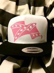 CURLED WAVE STANDARD VINYL ALL PINK REBEL FLAG TRUCKER HAT