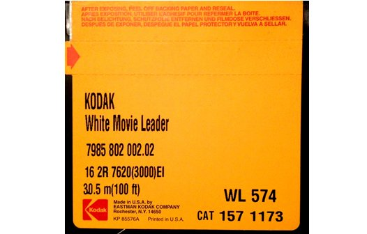 Kodak 'Classic' White Acetate Movie Leader - 16mm Double Perf. 100ft. (Original Factory Packaging)