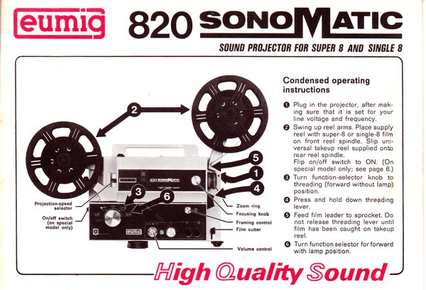 Instruction Manual: Eumig 820 Sonomatic Movie Projector