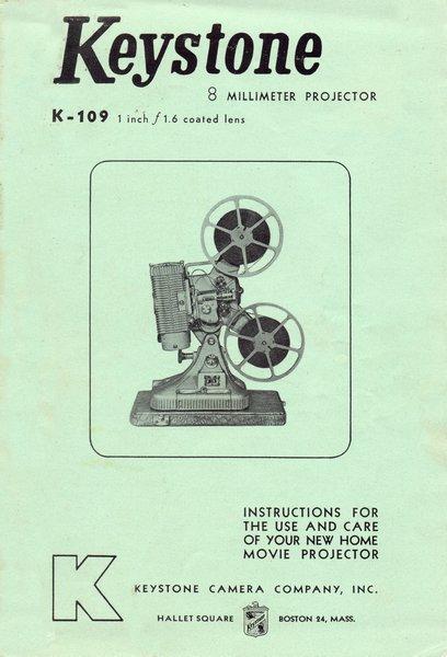 Instruction Manual: Keystone K-109 8mm Movie Projector
