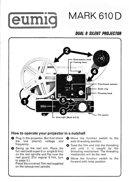 Instruction Manual: Eumig Mark S 610D Dual 8mm Silent Movie Projector