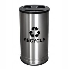 Stainless Steel Smiley™ Triple Recycling Receptacle