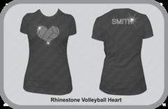 Rhinestone Volleyball Heart T-Shirt