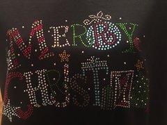 Merry Christmas Multi-Color Rhinestone Design Tee