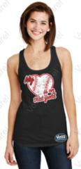My Heart Is On That Field Baseball Heart Ladies Tank
