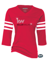 Keller Williams Rhinestone Enza Football Tee-Red