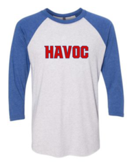 Havoc Baseball Bella-Unisex Three-Quarter Sleeve Baseball Tee-Blue Regular Print