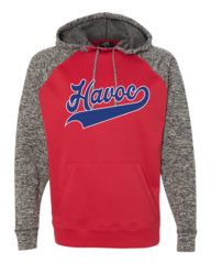 Havoc Baseball J. America-Colorblock Cosmic Fleece Hooded Sweatshirt-Script Print