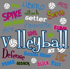 Volleyball Words Collage Tee