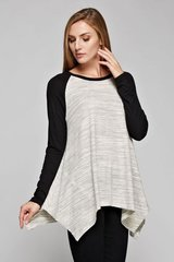 VB-Long Sleeve Heathered Body Baseball Tee with Asymmetrical Hemline