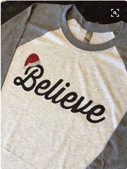 BELIEVE Christmas Glitter Design Tee