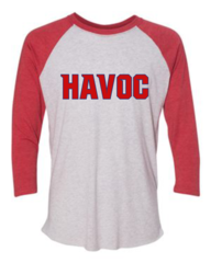 Havoc Baseball Bella-Unisex Three-Quarter Sleeve Baseball Tee-Red Regular Print