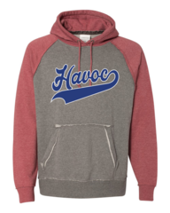 Havoc Baseball J. America-Vintage Heather Hooded Sweatshirt-Script Print