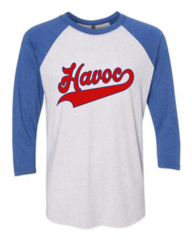 Havoc Baseball Bella-Unisex Three-Quarter Sleeve Baseball Tee-Blue Script Print