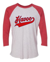 Havoc Baseball Bella-Unisex Three-Quarter Sleeve Baseball Tee-Red Script Print