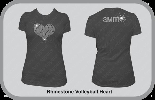 Rhinestone Volleyball Heart T Shirt Voss Apparel Team