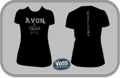 Rhinestone Avon Cheerleading T-Shirt with Back Cheerleader Strip