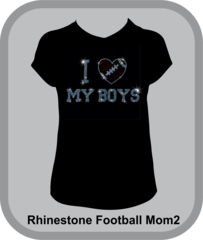 Football Mom Rhinestone I Heart My Boys