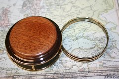 Handcrafted African Sapele Magnifying Glass Paperweight in a Beautiful 24 ct Gold Finish