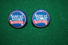 Handcrafted Cuff Links - Sam Adams Boston Lager Beer Cap with 24 ct Gold Plated Posts