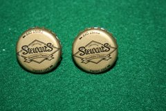 Handcrafted Cuff Links - Stewart's Root Beer Cap with 24 ct Gold Plated Posts