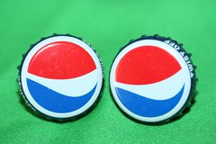 Handcrafted Cuff Links - Pepsi Soda Pop Cap Cufflinks with Bright Gold Plated Bezels