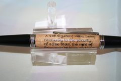 Handcrafted Wooden Pen - 2nd Amendment Scroll Executive Twist Inlay Pen in a Bright Chrome Finish