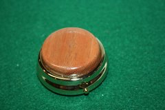 Handcrafted Wooden Mini Pill or Secret Box - Fine South American Lyptus Cap in a 24 ct Gold Finished Pill Box/Secret Box