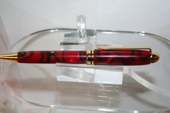 Handcrafted Acrylic Pen - Black Cherry Round Top Twist Pen in Beautiful Bright Gold
