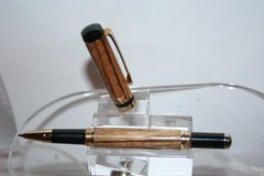 Handcrafted Wooden Pen - Zebrawood Classic Roller Ball Pen in a Bright Gold Finish
