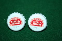 Handcrafted Cuff Links - Stella Artois Beer Cap with 24 ct Gold Plated Posts