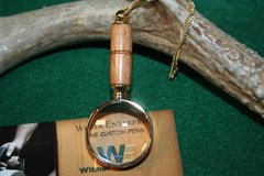 Handcrafted North American Beech Mini Magnifying Glass Pendant in a Beautiful 24 ct Gold Finish