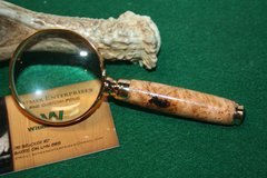 Handcrafted 2 inch Petite Magnifying Glass in a Exquisitely Marked Black Cherry Burl - Beautifully Crafted