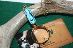 Handcrafted Southwestern Blue Acrylic Mini Magnifying Glass Pendant in a Bright 24 ct Gold Finish