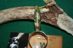 Handcrafted Pine Cones in Lime Green Pearl Acrylic Mini Magnifying Glass Pendant in a Bright 24 ct Gold Finish