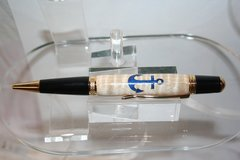 Handcrafted Ships Anchor Inlay Executive Twist Pen Finished in Bright Gold