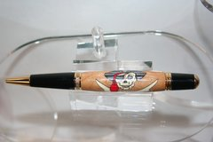 Handcrafted Pirate Inlay Executive Twist Pen Finished in Bright Gold