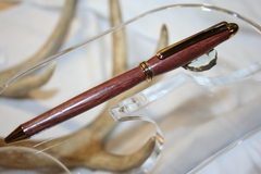 Handcrafted Wooden Pen - African Padauk Mini Round Top Style Wooden Twist Pen Finished in Gold