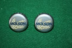 Handcrafted Cuff Links - Molson Beer Cap with 24 ct Gold Plated Posts